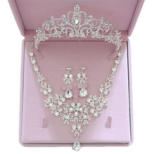 Fashtryb Crystal Wedding Bridal Jewelry Sets Tiara Ornaments