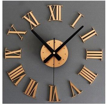 Métal texture 3D stéréo bricolage horloge murale numérique à Rome autocollants muraux créatifs horloges bricolage or et argent