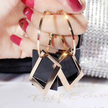 Fashionable sexy exaggerated personality geometric Rectangular Earrings temperament long earnail temperament Earrings woman personality exaggerated fashionable with diamond crystal earrings