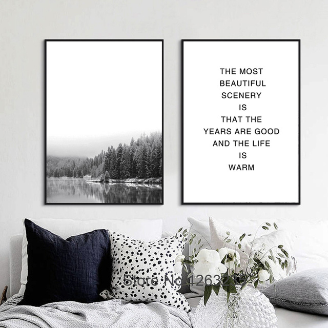 Nordic black and white landscape forest sea scenery posters and prints wall art canvas painting wall