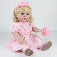 43CM DOLLMAI Boby Silicone Reborn Dolls blonde hair Baby Dolls Toys Pink hair band and real shoes fashion Newborn Princess Doll 15g brown and blonde 100% pure natural fashion mohair doll hair 6 inches for reborn baby dolls angora goat wig accessories