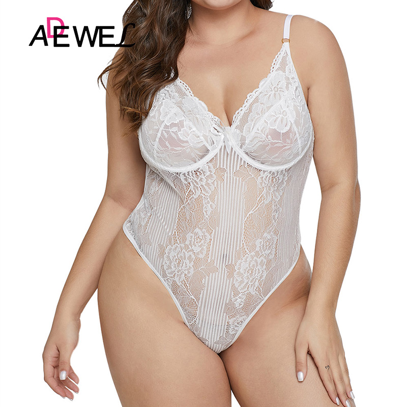 SEBOWEL 2019 Plus size White Lace Mesh Transparent Bodysuit Women Sleeveless Teddy Rompers Body Tops Femme Bodysuits   Jumpsuits