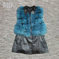 Black genuine leather vest  sheepskin jacket women long waistcoat blue real fox fur vest gilet chalecos mujer colete LT103