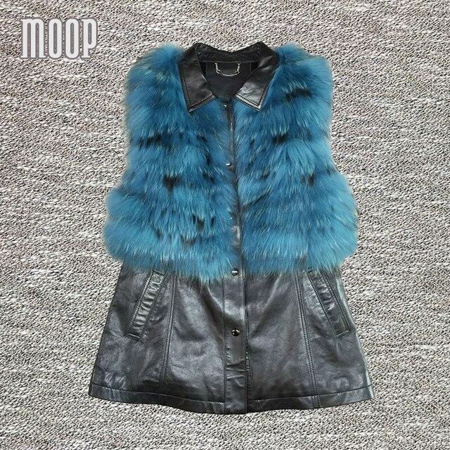 Negro cuero genuino de la zalea chaqueta mujeres largo chaleco azul real de piel de zorro chaleco de gilet chalecos mujer colete LT103