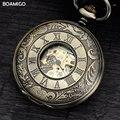 Homens mecânicos relógios de bolso fob antigo esqueleto relógios números romanos presente relógios display analógico moda cadeia boamigo quente