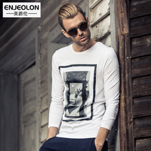 Enjeolon brand 2017 new casual top long full sleeve t shirts man cotton printing base ClothingTops Tee free shipping RST1720-1