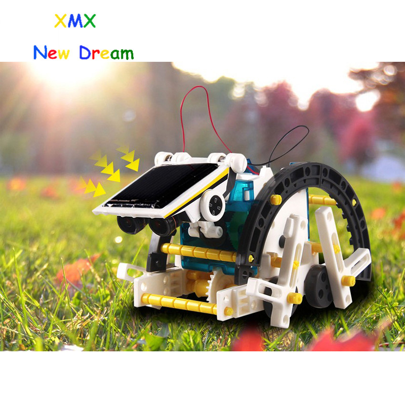 KAINISI 14-1 solar robot kit education solar power generation robot DIY toy assembly educational toys children's boy gril gift diy assembly solar power car toy blue black orange