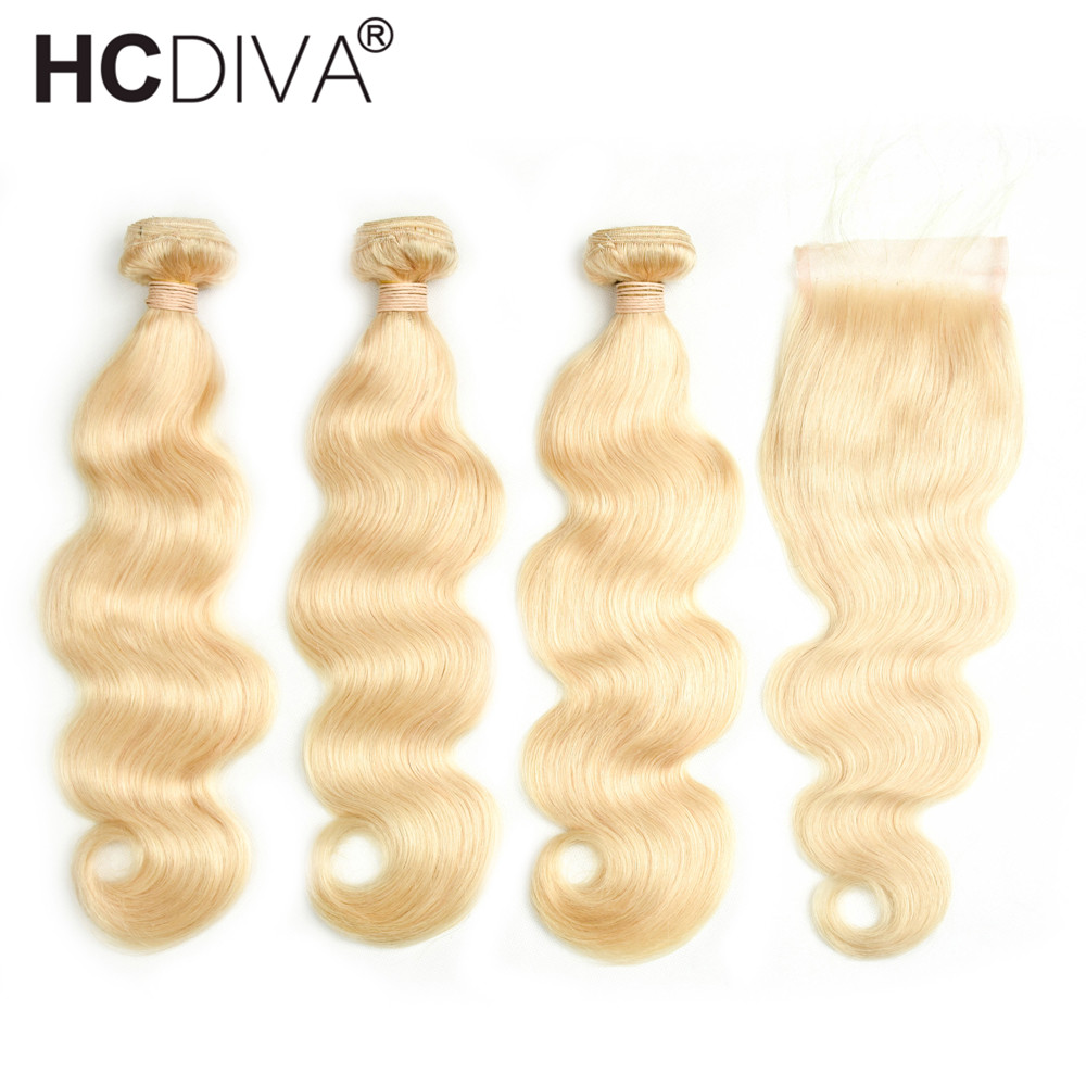 HCDIVA Peruvian Body Wave Hair 3 Bundles With Closure 613 Blonde Human Hair With 4x4 Closure 4 pcs/LOT Non Remy Hair Extensions