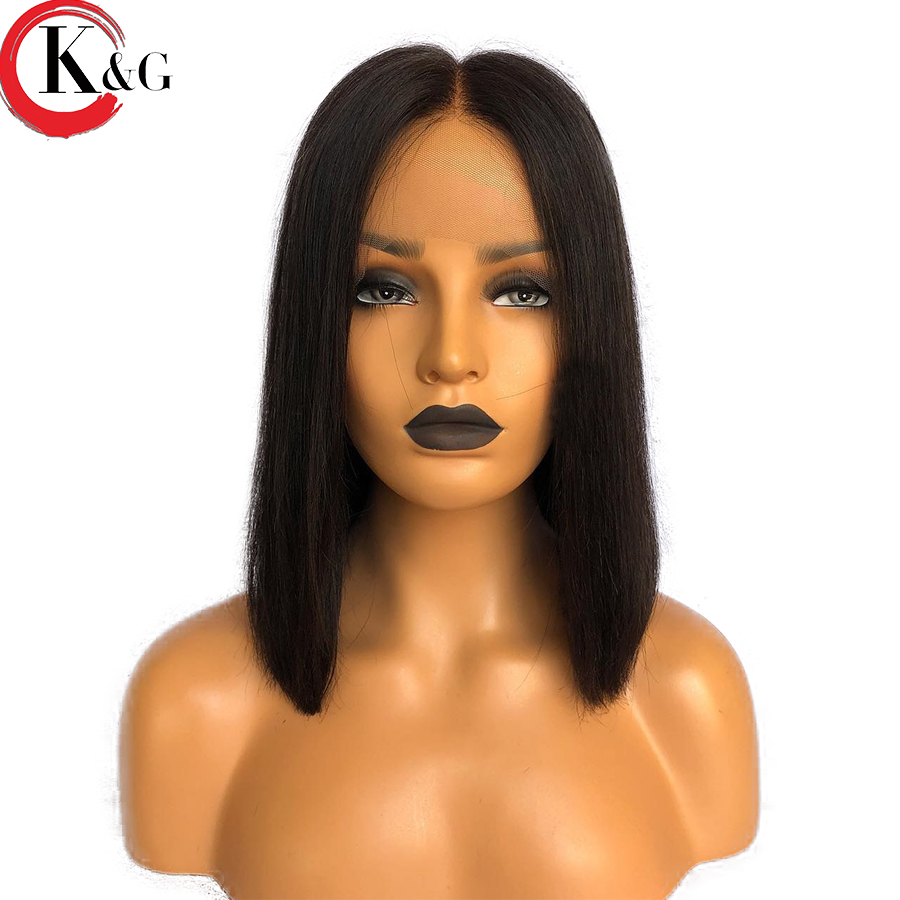 Kun Gang Lace Front Human Hair Wigs For Women Middle Part Short Bob Wig Brazilian Remy