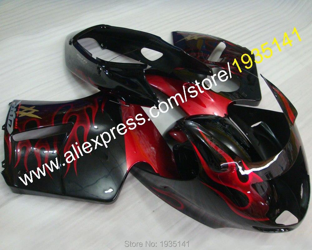 Горячие продаж,черный красный комплект для Honda 96-07 CBR1100XX ЦБ РФ 1100 ХХ 1996-2007 красный пламя мотоцикл кузов Обтекателя (литье под давлением)
