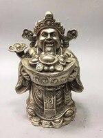 Коллекция тибетский серебряный Бог богатства Статуя, дом/украшение офисного стола китайский Фен Шуй богатство скульптура божества Металли