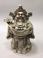 Collection tibet silver God of wealth statue,Home/office desk decoration chinese feng shui wealth god sculpture Metal crafts