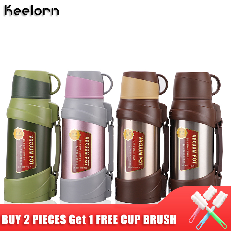 Keelorn 1800ML 2000ML Stainless Steel Vacuum Insulation Pot Portable Outdoor Large Capacity Sport Travel Pot Thermal Vacuum Cup