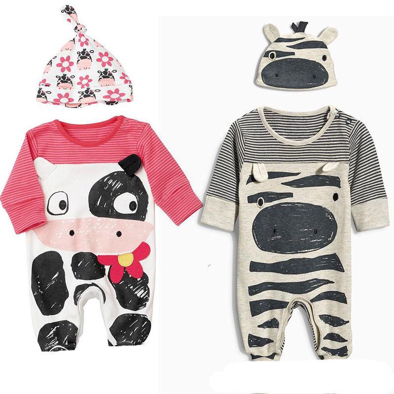 milk cow Unisex Newborn Toddler Infant Baby Boy Girl Sleepwear Long sleeve Pajama  Baby Rompers 0-24M unisex newborn baby boy