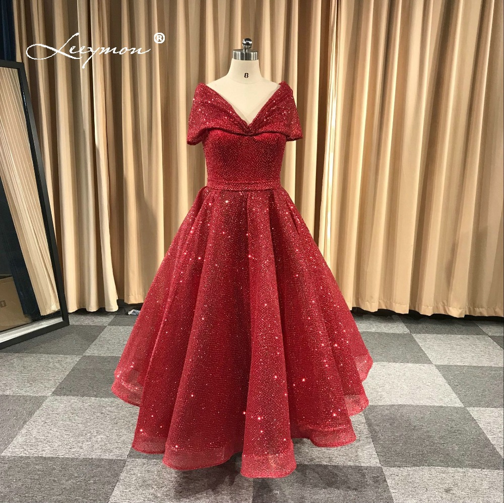 Leeymon Elegant Ankle Length   Prom     Dress   2019 Cap Sleeves Ball Gown Glitter Bronzing Fabrics Evening Party   Dress