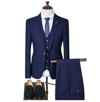 Loldeal Men's Plaid Slim Fit Wedding Suits for Men Brand Business Formal Suit Black,Gray,Navy,wine Red(Blazers+Vest+Pants)