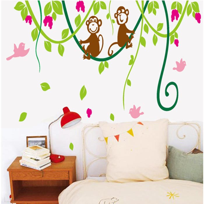 Green Trees Vine Monkey Flower Wall Stickers Cartoon Monkey Climb - Wall decals kids roomcartoon monkey climbing flower vine wall decals kids room nursery