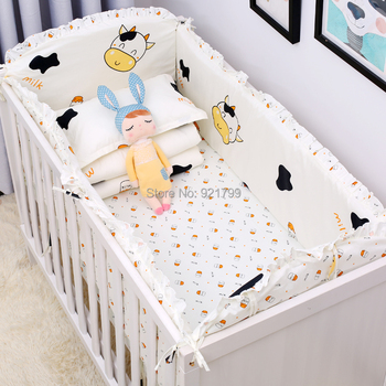 Cartoon Cute Cow Colourful Prevention Baby Uninjured Newborn Baby Bumpers Insurance Rod Baby Crib Bedding Suit Safety Guardrail