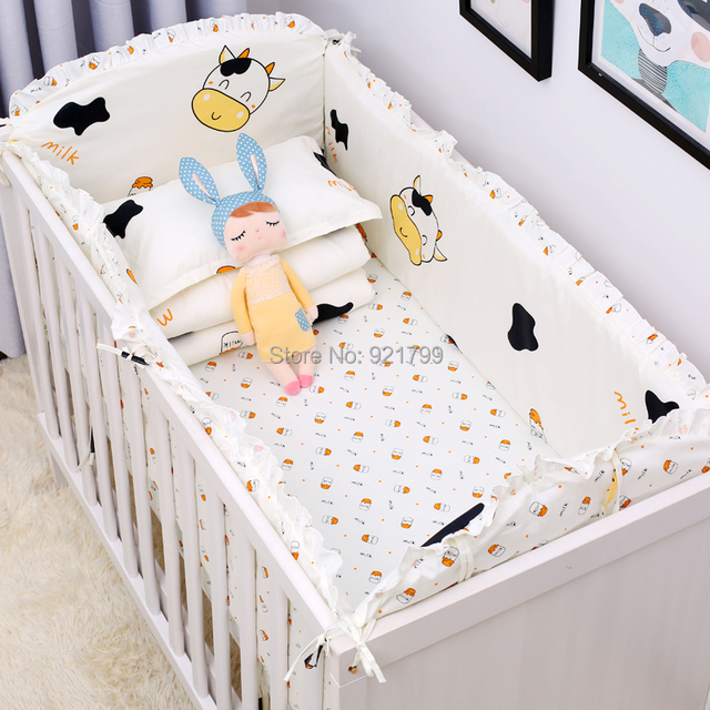 Cartoon Cute Cow Colourful Prevention Baby Uninjured Newborn Pers Insurance Rod Crib Bedding Suit