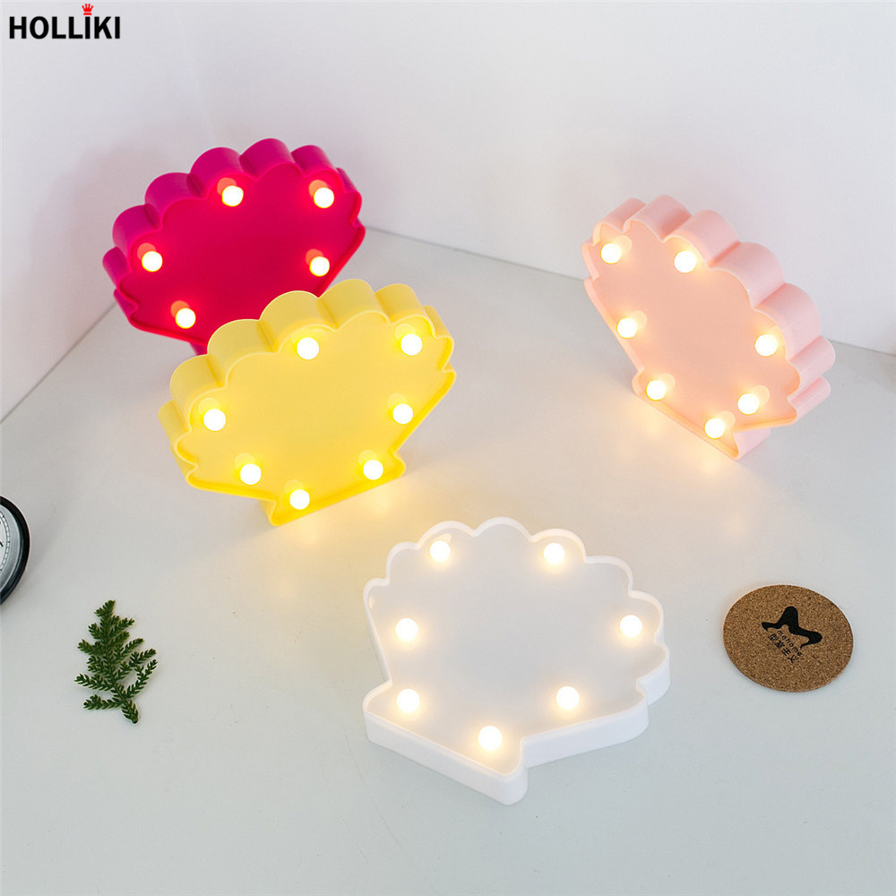 Led 3d Shell Table Lamp Lights Battery Powered Warmth Marquee Letter Night Lamp For Baby Bedroom Christmas Decoration Kids Gift Agreeable Sweetness