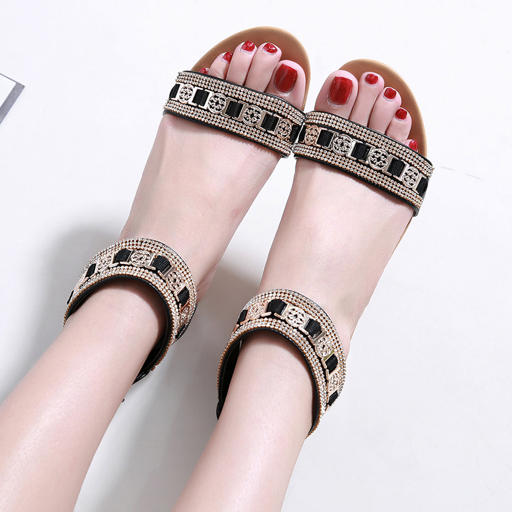 YOUYEDIAN Wedges Shoes Sandals Middle-Heel Rhinestone Fashion Mujer Zapatos