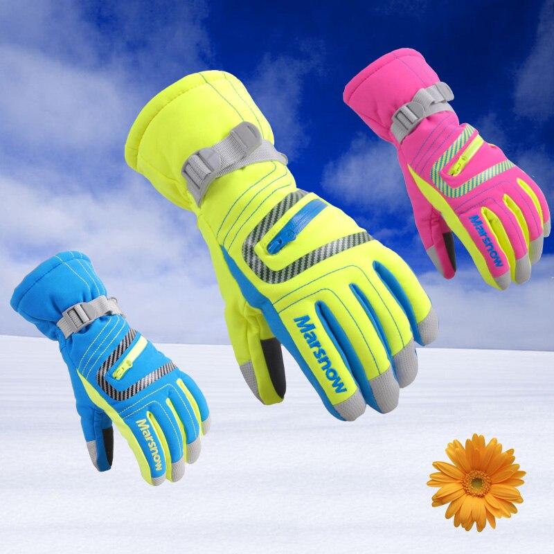 finest selection 68ecb 78551 2016 nueva llegada al aire libre deportes de invierno esquí Guantes niños a  prueba de viento impermeable caliente 5 dedos Guantes de esquí hombres  mujeres ...