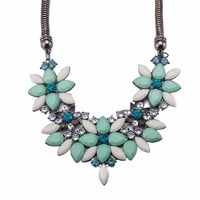 Color Handmade Crystal Chokers Necklaces Women Charm Jewelry Fashion Multicolor Beads Collar Chunky Necklace Statement 387