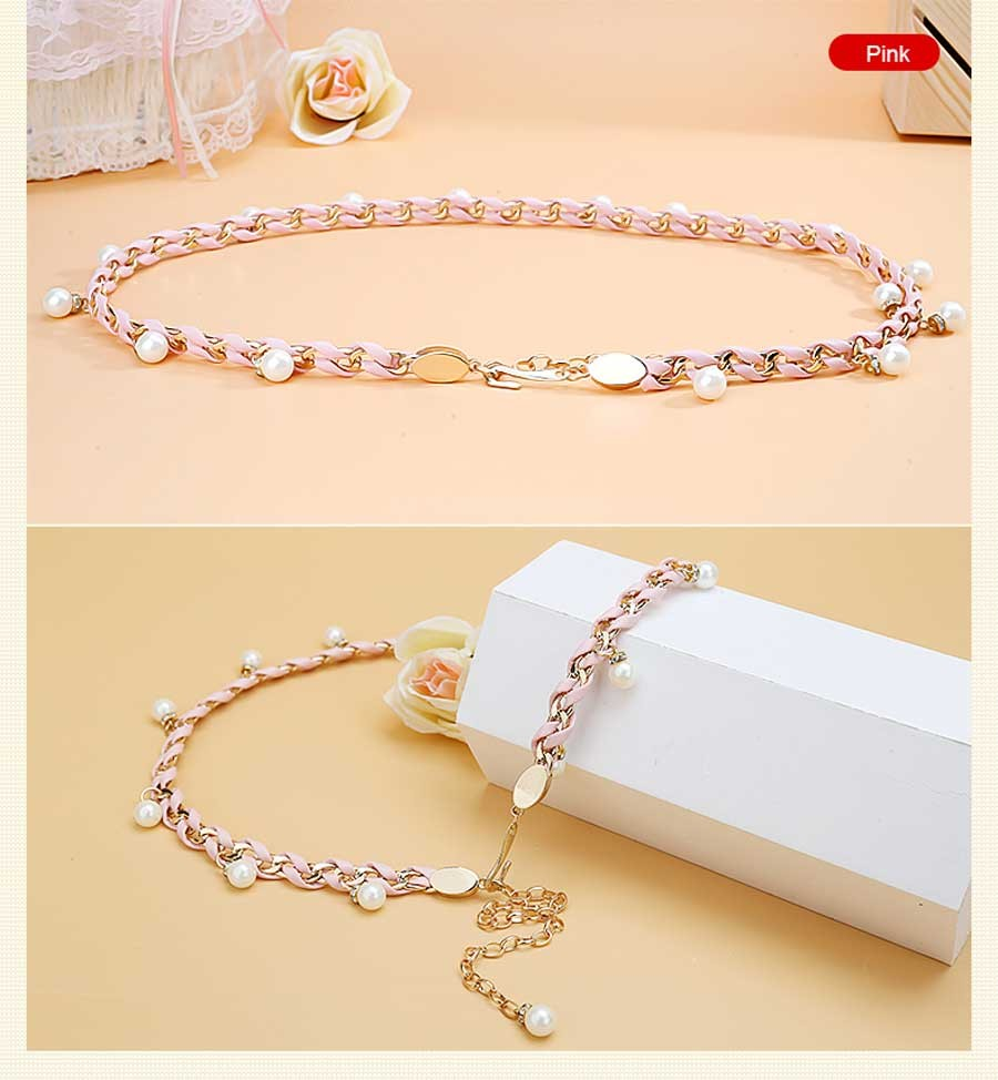 Catelles Handmade Chain Belts For Women Hook Buckle Rhinestone Inlay Woman Belt Brand Female Metal Chain Strape With PU Leather (18)