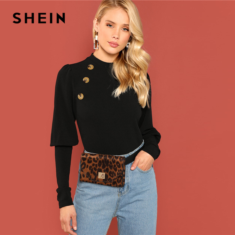 SHEIN Black Office Lady Solid Double Button Leg-of-mutton Sleeve Slim Fit Tee 2018 Autumn Workwear Casual Women Tshirt Top