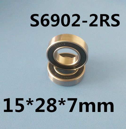 Free shipping 2pcs S6902-2RS stainless steel 440C deep groove ball bearing 15x28x7mm 6902 61902 free shipping 10 pcs smr85zz abec3 5x8x2 5mm high quality stainless steel bearing 2pcs lot ball bearing 5x8x2 5