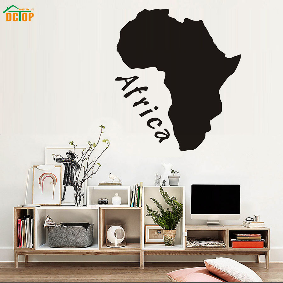 DCTOP Africa Map Wall Stickers Home Decor Living Room Removable Wall ...