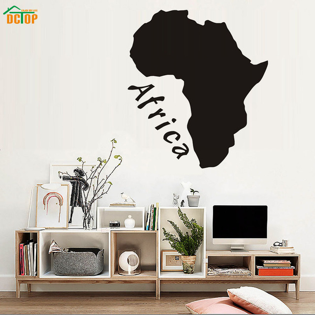 Dctop africa map wall stickers home decor living room removable wall vinyl decals diy map pattern