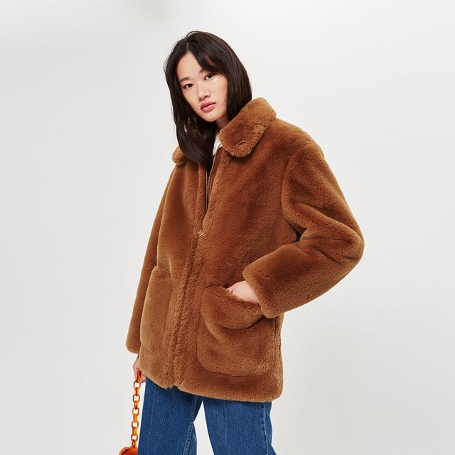 Fuzzy Teddy Bear Zippers Fur Coat