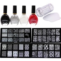 4pcs Nail Stamping Plates 4 Bottle Stamp Hand Special Nail Polish 1pcs Scraper 1X Jelly 2