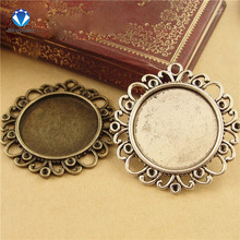 MINGXUAN 10pcs/lot Inner Size 25mm Antique Bronze/Antique Silver Jewelry Accessories cork base Alloy Tray