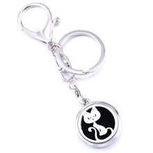Silver Sexy Cat Aroma Keychain Keyring Open Locket Stainless Steel Perfume Aromatherapy Essential Oil Diffuser Car Keychain Gift(China)