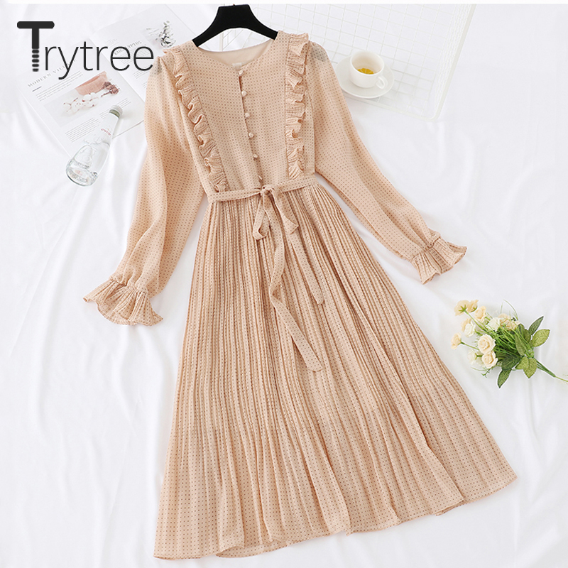 Trytree 2019 Autumn Dress Vintage Dot Ruffles Women Butterfly Sleeve Shirt Dresses Belt Mid-calf Empire A-line Pleated Hem Dress