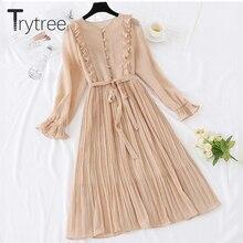 Trytree bahar elbise Vintage Dot Ruffles kadın kelebek kollu gömlek elbiseler kemer orta buzağı İmparatorluğu A line pilili etek elbise