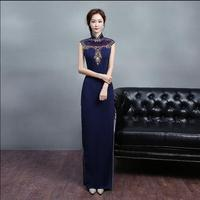Modern oriental Cheongsam Chinese Dresses sexy formal traditional chinese stuff long sequins parts robes
