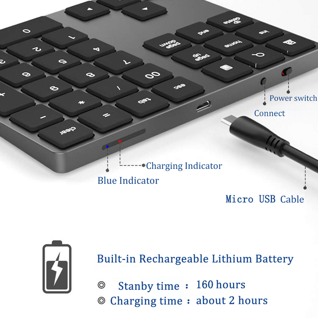 Avatto 34 keys Bluetooth Wireless Numeric Keypad 3
