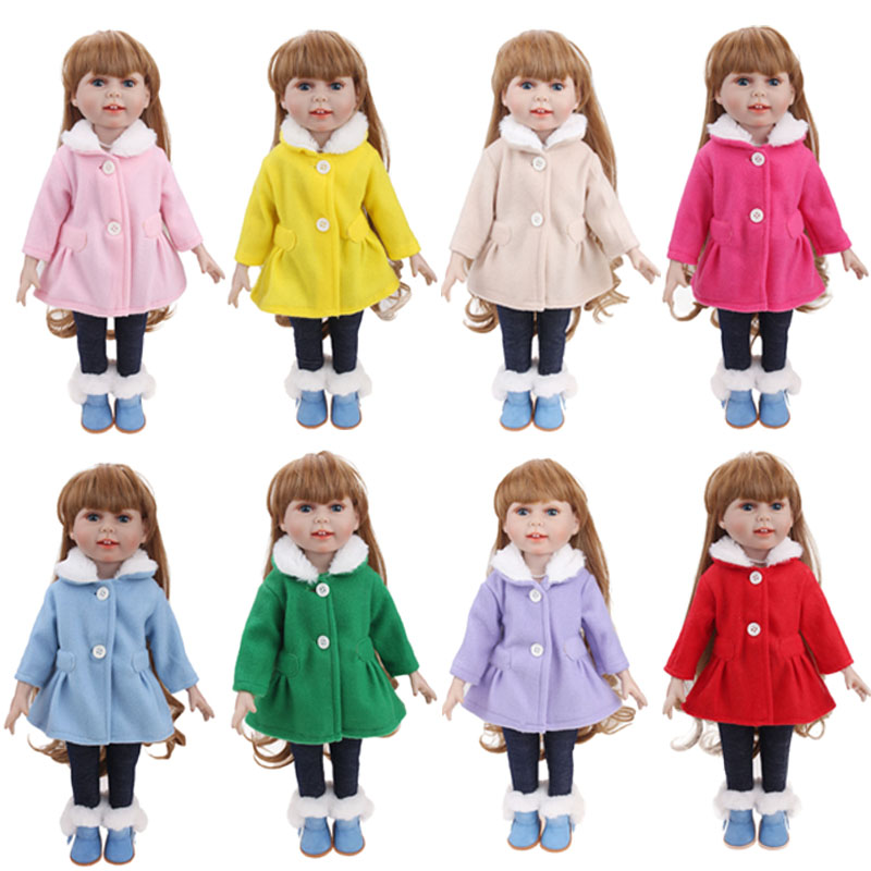 18 Inch Girls Doll Clothes Woolen Overcoat Set + Pant American Newborn Dress Accessories Baby Toys Fit 43 Cm Baby Dolls C730