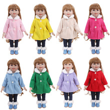 18 inch Girls doll clothes woolen overcoat set + pant American newborn Dress accessories Baby toys fit 43 cm baby dolls c730 lebel cosmetics краска materia m layfer лайфер окрашивание и восстановление 80г