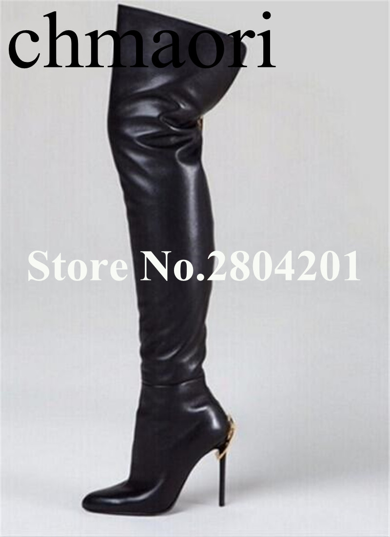 the fashion Spring /Autumn dress shoes Zip solid black Pointed toe Over-the-Knee super high Boots thin hells sexy woman