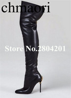 the fashion Spring /Autumn dress shoes Zip solid black Pointed toe Over the Knee super high Boots thin hells sexy woman