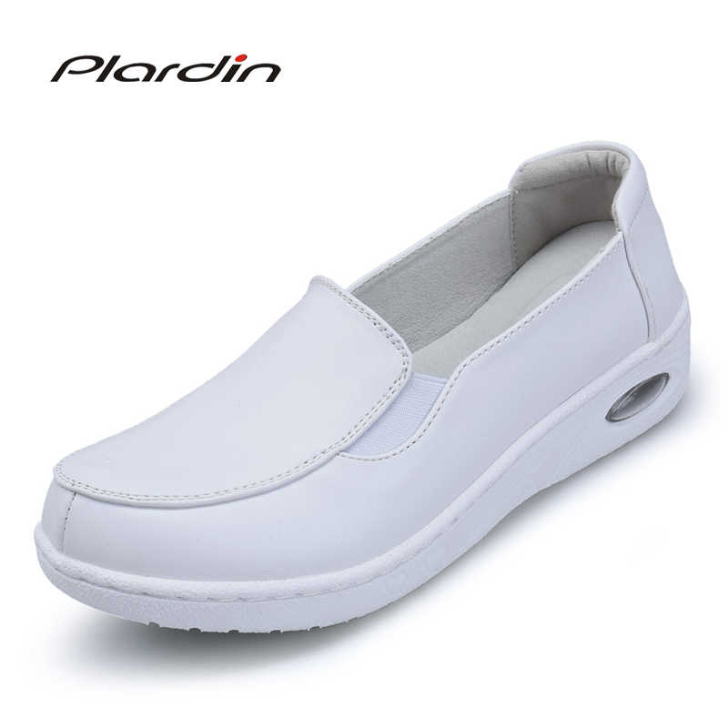 5cce6691154 Plardin Women Loafers Shoes Genuine Leather Slip On Walking Shoes White  Sneakers Casual Shoes Ballet Flats