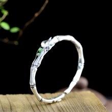 LouLeur, pulseras de jade de Plata de Ley 925, hechas a mano, originales, de bambú, jade, ciruela, brazaletes de amor para mujeres, abalorios de joyería de amor eterno