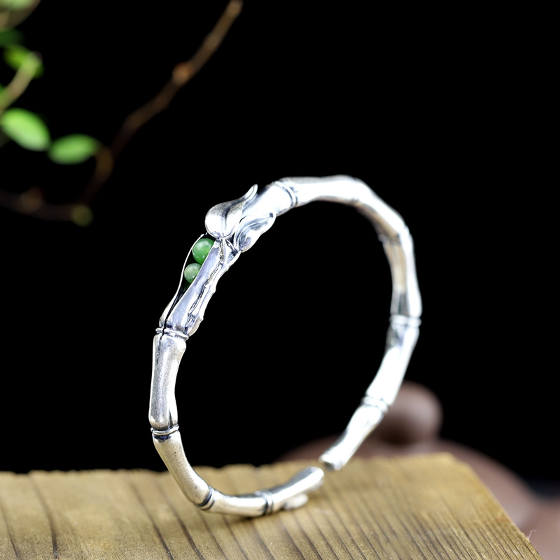 LouLeur argento 925 giada braccialetti originali fatti a mano giada bambù prugna amore braccialetti per le donne Eternal Love charms gioielli-in Bracciali e braccialetti da Gioielli e accessori su  Gruppo 1