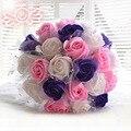 Colourful Rose Decor Pearls Crystal Wedding Bouquet Buque Casamento Ramos De Novia Gelin Buketi White Red Purple Pink D428