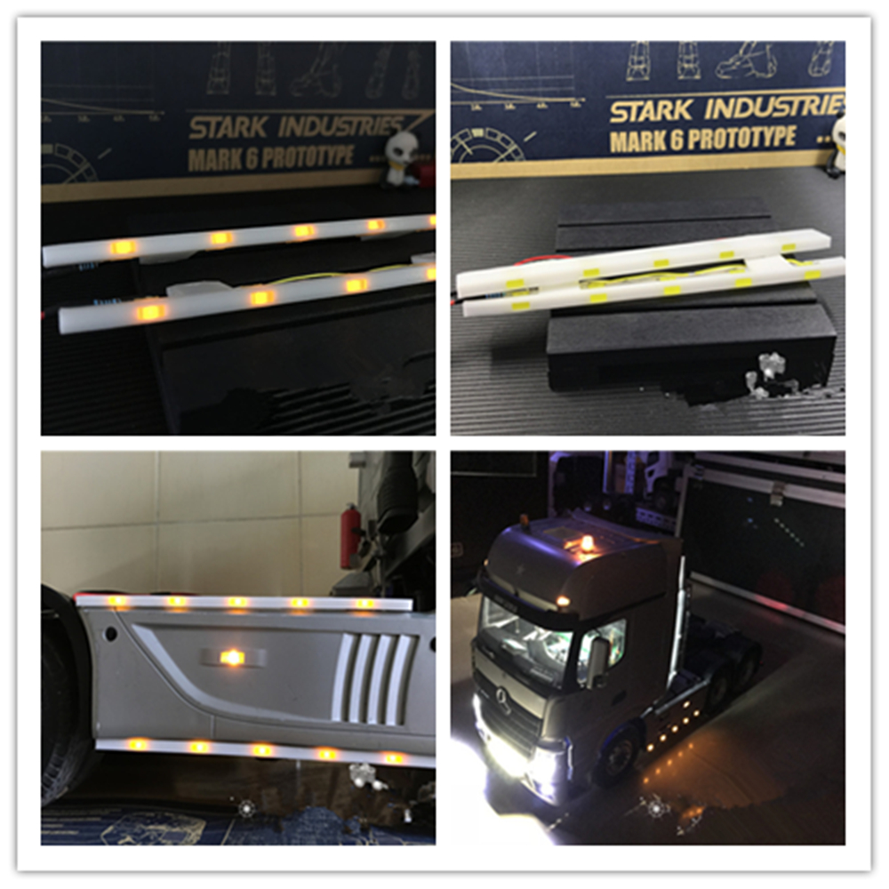 2pcs LED Side Lights Lamps Replace Part For 1//14 TAMIYA Scania Man Actros 56360
