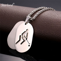 Dog Tag Hockey Double Necklaces Pendants Sport Jewelry Stainless Steel 18K Real Gold Plated Chain For
